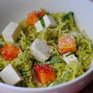 Spaghetti Squash with Homemade Pesto Sauce, Heirloom Tomatoes and Fresh Mozzarella
