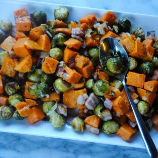 Roasted Brussel Sprouts, Sweet Potatoes and Bacon