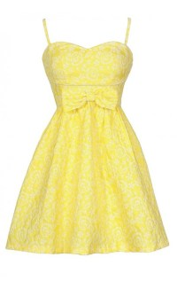 Bright Yellow Sundress, Cute Bright Yellow Bow Dress, Cute ...
