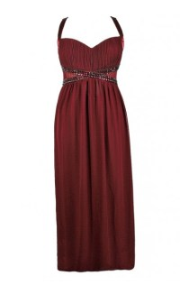 Burgundy Plus Size Maxi Dress, Burgundy Plus Size Formal ...