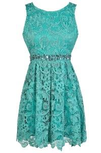Teal Lace Rhinestone Dress, Teal Lace A-Line Dress, Cute ...