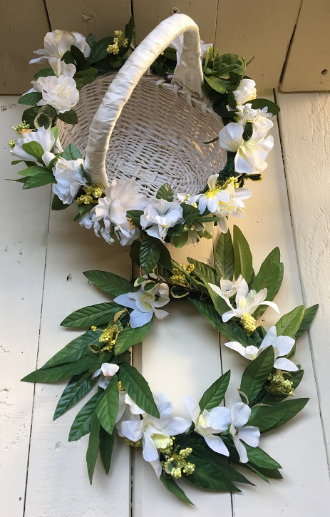 Finished flower girl head wreath and basket