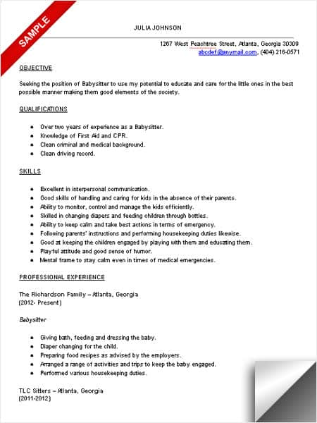 competence baby sitter cv