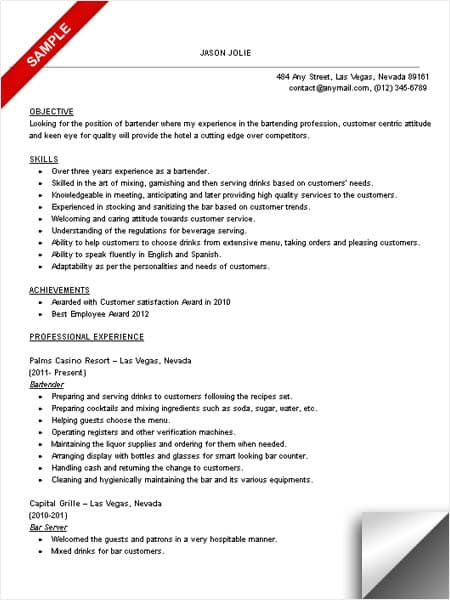 Bartender Resume Sample - LimeResumes - bartender sample resume