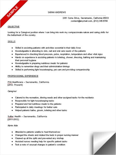 caregiver objective resume example
