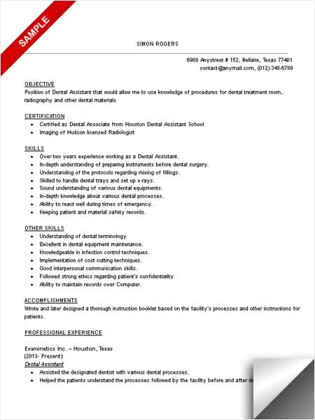 Dental Assistant Resume Sample - LimeResumes