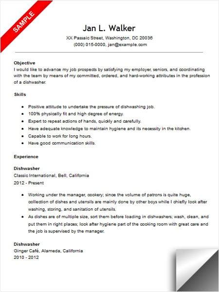 sample resume for restaurant dishwasher