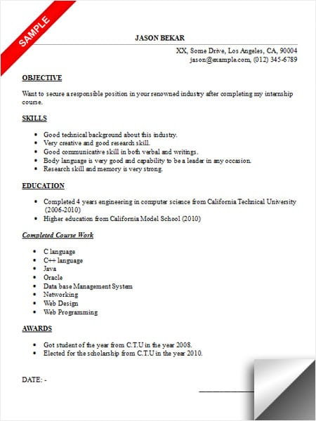 good objectives in a resume