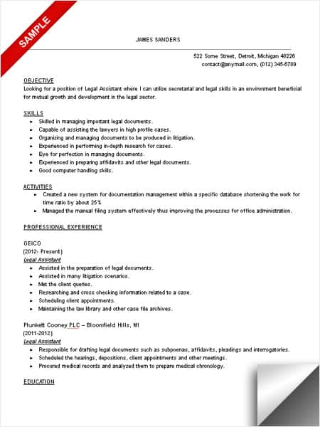 Legal Assistant Resume Sample - LimeResumes - Profile Or Objective On Resume
