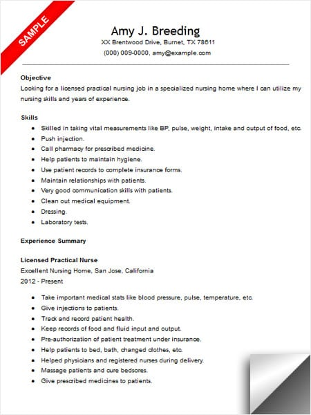 Licensed Practical Nurse Resume Sample - LimeResumes