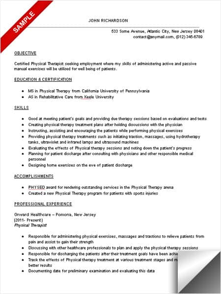 Physical Therapist Resume Sample - LimeResumes - pta resume sample
