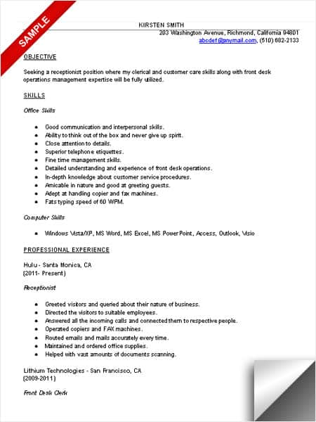Land A Job Using This Free Receptionist Resume Sample! - Service Receptionist Sample Resume