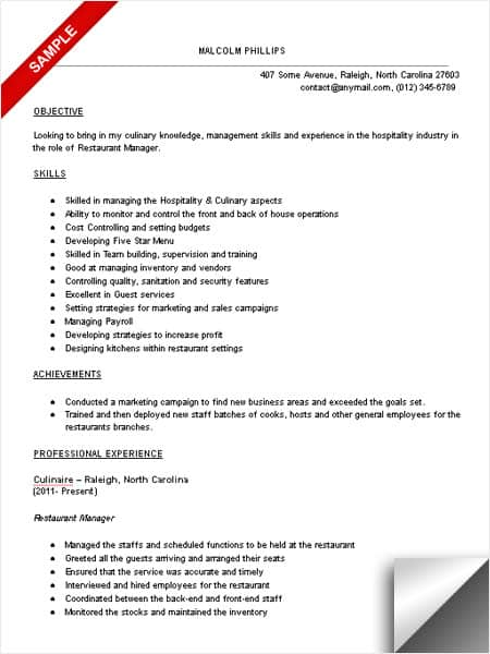 Restaurant Manager Resume Sample - LimeResumes