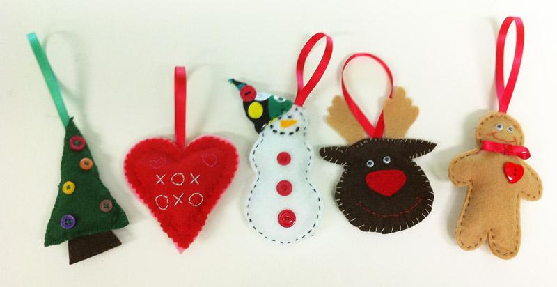 Hand sew felt Christmas decorations (Monday AM) - The Lime Zone - felt christmas decorations