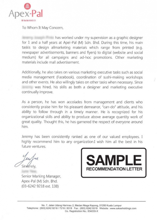 CV, Reference and Recommendation Letter