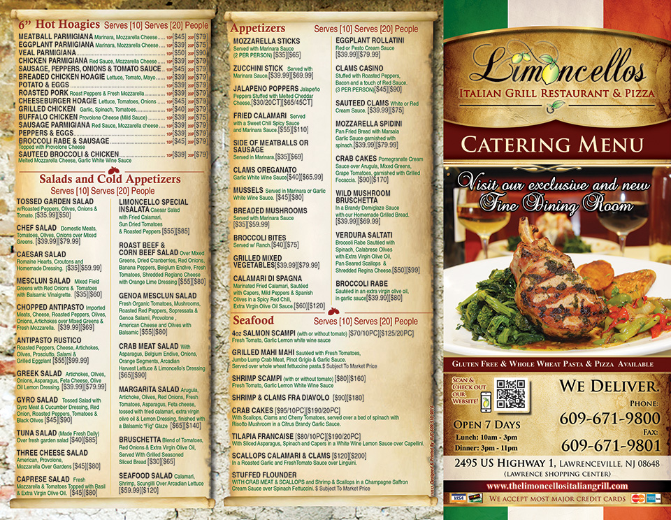 Catering Menu Best Italian Restaurant in NJ Limoncellos Restaurant - italian menu