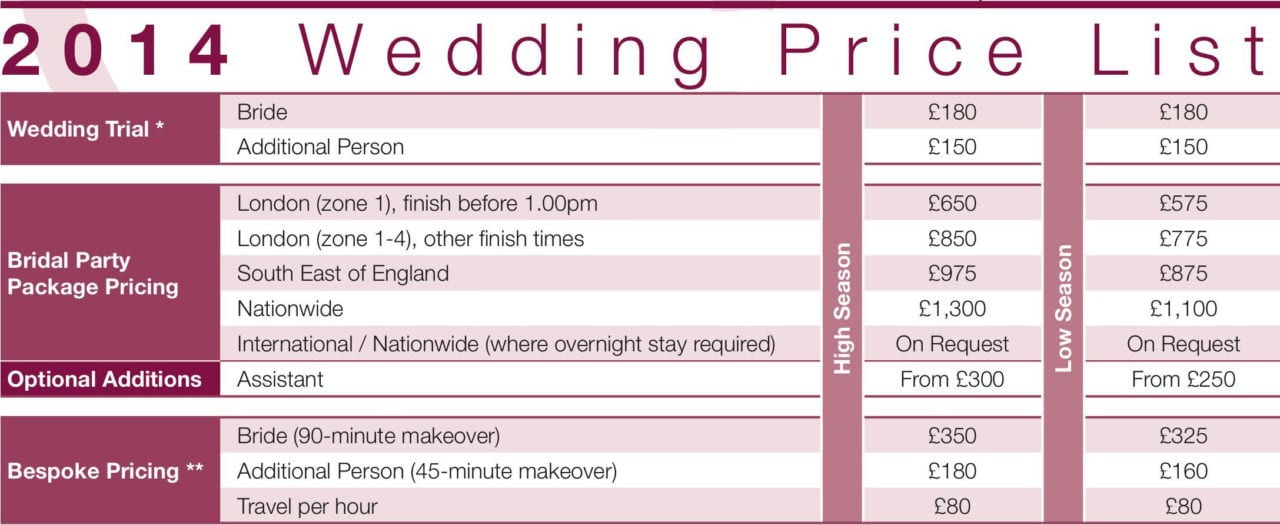 Wedding Price List Extract Lina Cameron