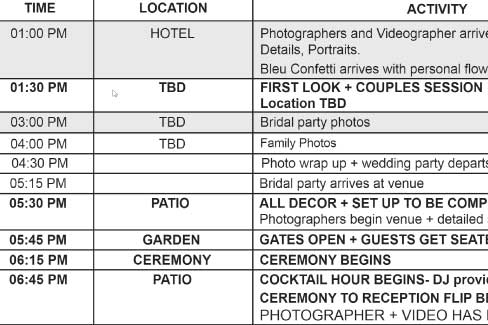 Wedding Photography Timeline Ideal Times for Your Photography - wedding timeline