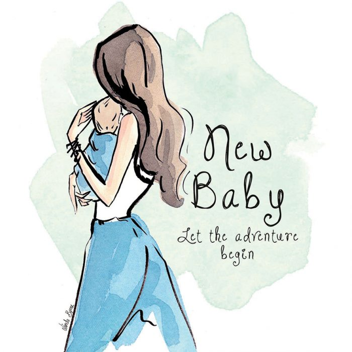 New Baby Blue Greeting Card - Linda Byrne Illustration