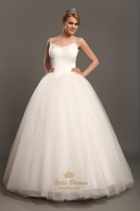 Elegant Ivory Ball Gown V-Neck Tulle Wedding Dresses With ...