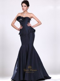 Navy Blue Mermaid Strapless Taffeta Prom Dress With Floral ...