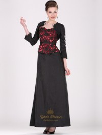 Black And Red Taffeta Lace Bodice Mother Of The Bride