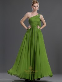 Apple Green One Shoulder Chiffon Bridesmaid Dress With ...