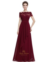 Burgundy Sweetheart Chiffon Lace Overlay Top Formal Dress ...