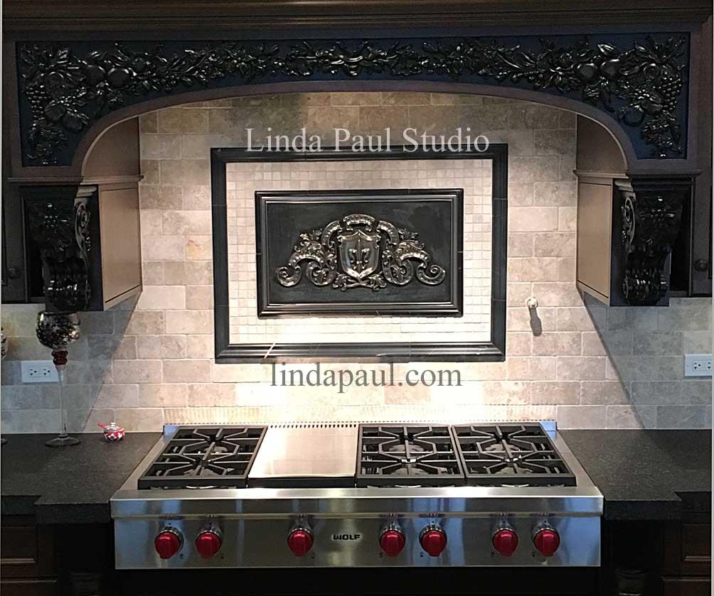 fleur d lis backsplash plaque silver and back metal medallion Linda Paul Studio