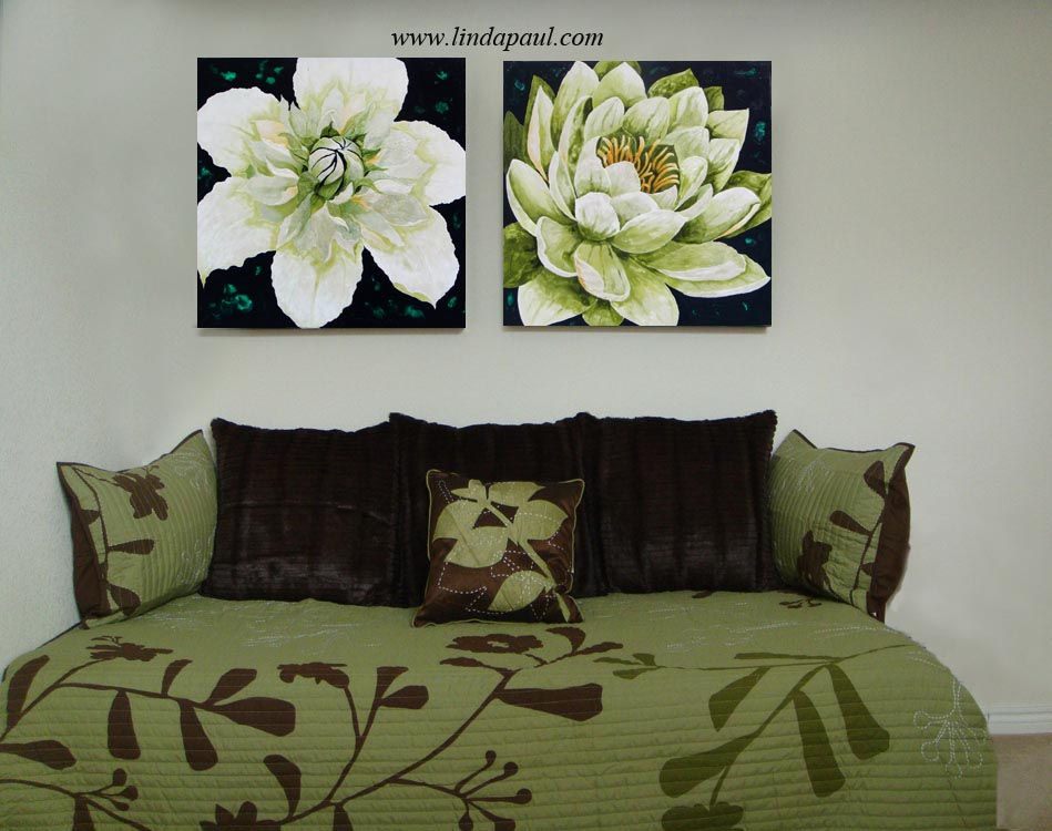 Flower Paintings Lotus And Clematis Floral Art By Artist