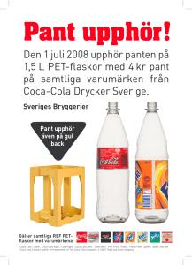 Pant upphör på Coca-cola-flaskor
