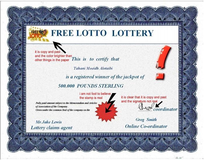 False certificate from the UK National Lottery programme