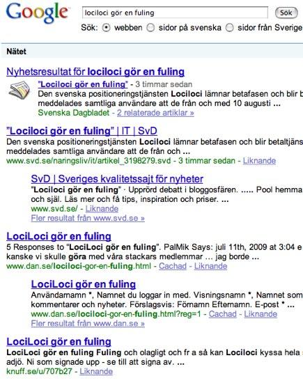 lociloci gör en fuling - Google-sökning