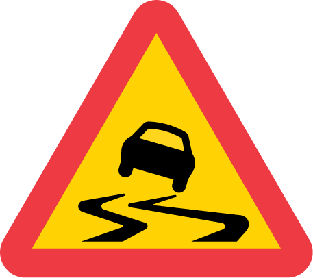 A10-1-varning för slirig väg