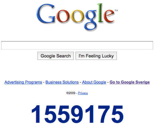 Google 2010 countdown