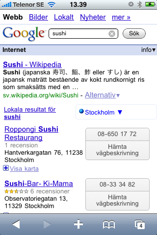 Hyperlokala Sushi-resultat