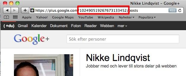 Ditt ID för Google+ visas i URLen till din profilsida