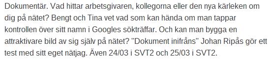 TV.nu om Du är googlad och Johan Ripås