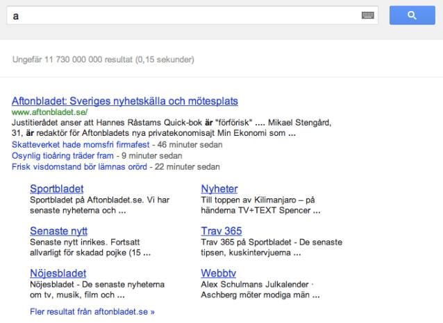 Aftonbladet dominerar sökresultatet på sökningar efter bokstaven A