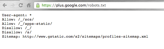 Robots.txt-filen för plus.google.com