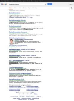 Det andra distinkta sökresultatet för Sverigedemokraterna - Klicka för större bild