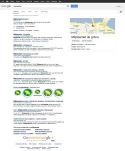 Miljöpartiets förstasida i Google 2013-03-03