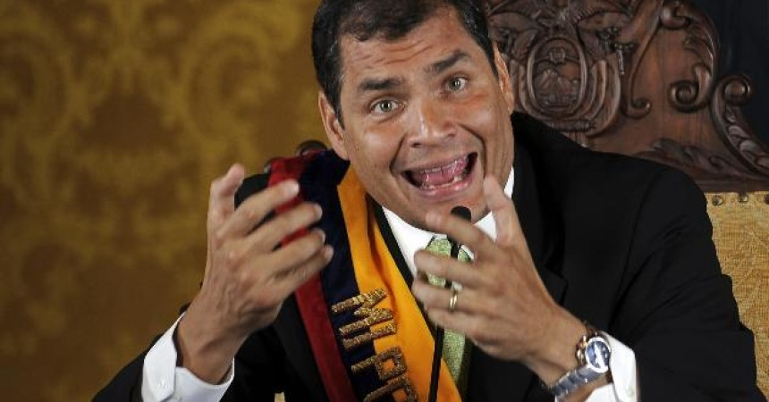 Ecuador's President Rafael Correa speaks to the press in the government palace in Quito, Ecuador, late Thursday Sept. 30, 2010.  The army rescued Correa from a hospital where he had been trapped by rebellious police for more than 12 hours while he was being treated for tear-gas fired by hundreds of police angry over a law that they claim would cut their benefits. (AP Photo/Patricio Realpe)