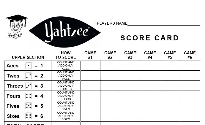 Yahtzee Score Card » linear concepts - sample yahtzee score sheet