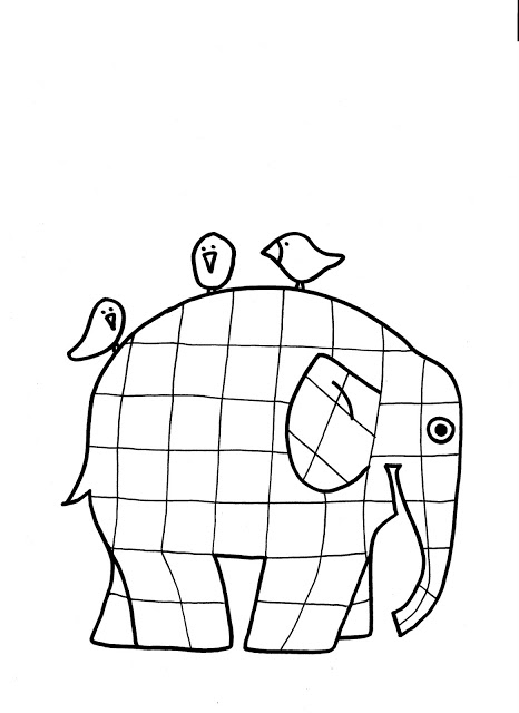 Elmer The Patchwork Elephant coloring page