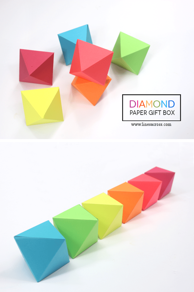 DIY Diamond Gift Boxes with Free Printable Octahedron Templates – Paper Gift Boxes Templates