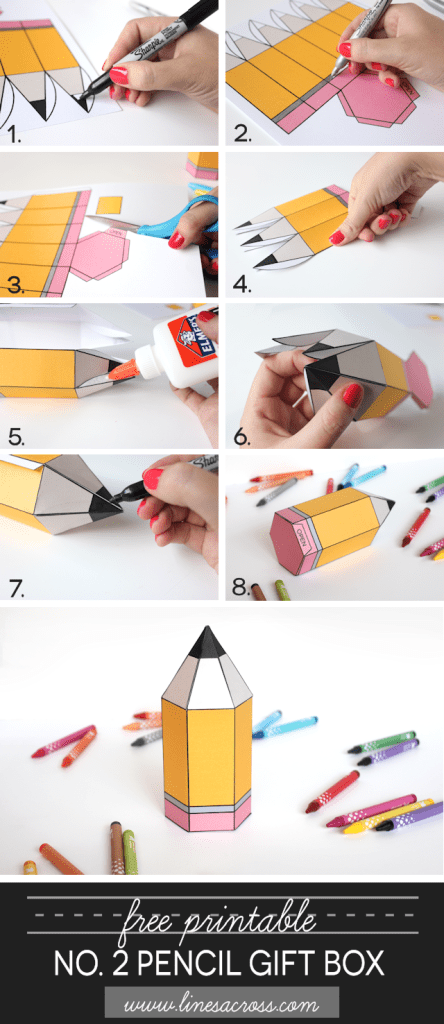 download and print these free printable pencil gift boxes - perfect for back to school!
