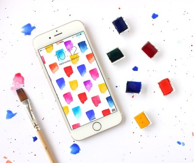 Free Brushstrokes Watercolor iPhone Wallpapers - Lines Across