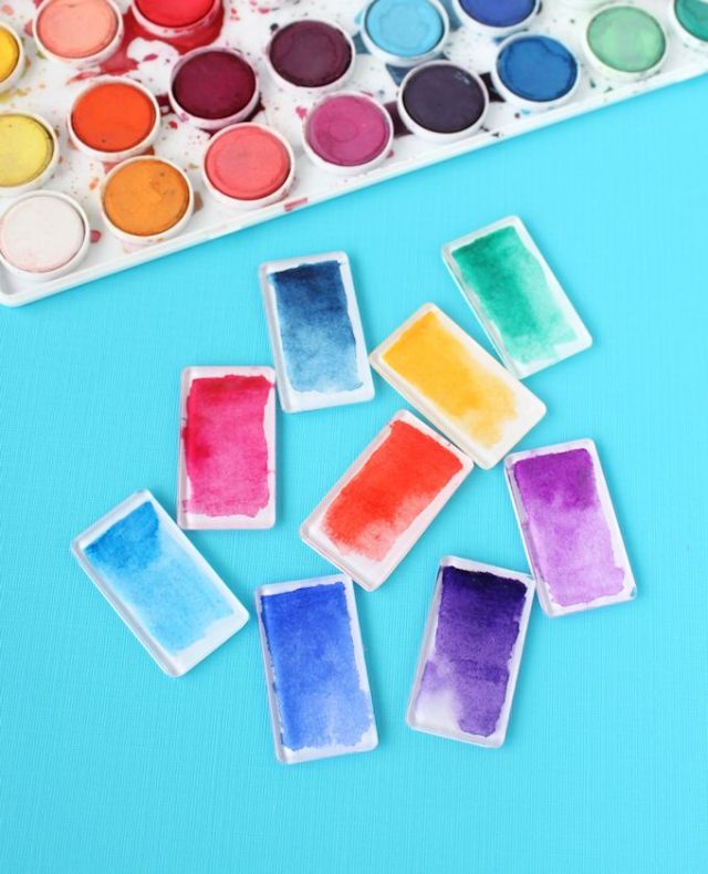 Mod Podge Watercolor Magnets @linesacross