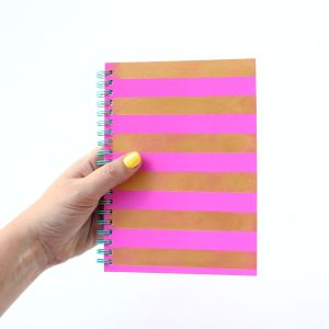 DIY Gold Striped Notebook